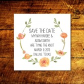 Rustic Watercolor Floral Wreath Save the Date