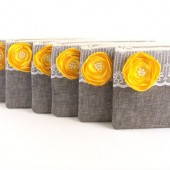 MANY Colors Available- GREY Clutch Envelopes with YELLOW Flower Brooches