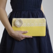 Yellow and White Polka Dot Envelope Clutch