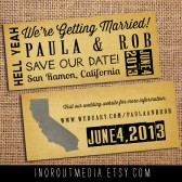 Oversized Punk Rustic Save the Date