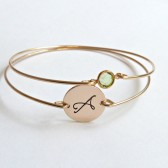 Gold Initial and Birthstone Bangle Set