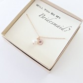 Fresh Water Pearl with Initial Necklace, Choose from Silver, Gold or Rose Gold