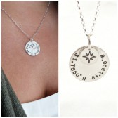 Custom Coordinate Necklace : Choose the location. Available in Silver, or Gold,