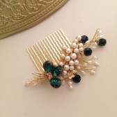 Emerald Gold and Pearls Bridal Hair comb vintage brooch headpiece Handmade weddings OOAK