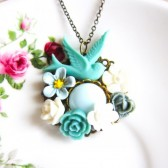 Blue Floral Necklace Shabby Chic Style