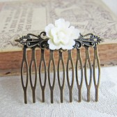 Small Ivory Flower Hair Comb for Weddings
