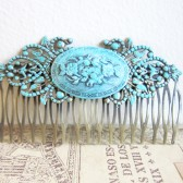 Turquoise Tiffany Blue Hair Comb Vintage Style