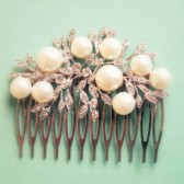 White Pearl Silver Hair Comb