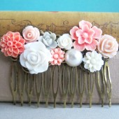 Pink Flower Hair Comb