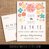 Rustic Illustrated Flowers Save the Date