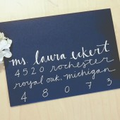 White on Navy Calligraphy Envelope Addressing