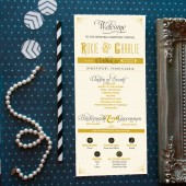 "Art deco wedding programs inspired by the Great Gatsby. Any color scheme on 4"" x 9"" thick card stock. DIY or printed on card stock."