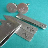 Monogram Cuff Link, Collar Stay, and Money Clip Set