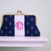 monogrammed anchor clutch bag