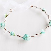 Aqua Blue Rose Crown, Bridal Halo, Woodland Crown