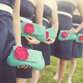 Clutch Set, Aqua and Red Flower Brooch