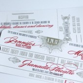 Art Deco Great Gatsby Vintage Movie Ticket Wedding Invitations