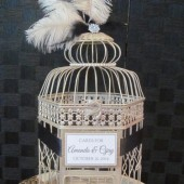 Art Deco Wedding Card Holder with ostrich feathers and pearls