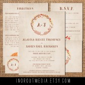 Autumn Wreath Rustic Wedding invitations