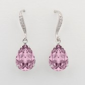 Avery bridesmaid earrings with Swarovski crystals - antique pink
