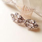 Gorgeous Antique Gold Rhinestones pearls and crystals Bridal hair comb
