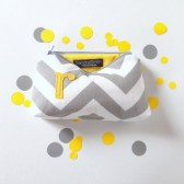 yellow and grey gray personalized bridesmaid clutch