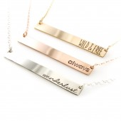 Personalized Bar Necklace in Silver, Gold, or Rose Gold