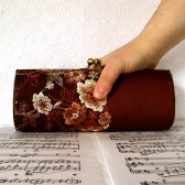 Chocolate brown silk and lace minaudiere clutch