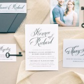 Graceful type and a beautiful use of space combine to create the stunning Romantic Calligraphy wedding invitation! Choose your favorite font to customize this card to make it perfect for you!