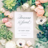 With gorgeous script font balanced with elegant spacing and a fun background design, The Traditional Script is a beautiful and timeless card that will leave a lasting impression.
