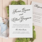 Dainty and refined, the Sweetheart Script is a charming wedding invitation with elegant script font and a beautiful dahlia pattern you can customize by color!