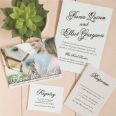 With such dainty and charming script, the Sweetheart Script wedding invite is one your loved ones will forever cherish! The beautiful dahlia pattern is also completely customizable!