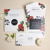 Vintage Botanical Seal & Send Wedding Invitation