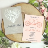 These invitations are an adorable way to get guests excited for your Bridal Shower! The Subway Letter Heart and The Tandem Bike are just as customizable as they are cute!