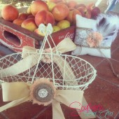 Chicken wire flower girl basket & ring bearer set