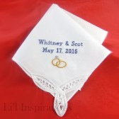 Lace Wedding Handkerchief Personalized