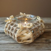 Hemp wrapped tea light holder