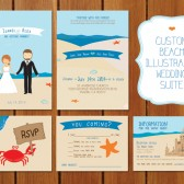 Beach Illustrated Wedding Invitation