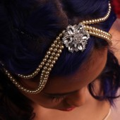 Pearl and Rhinestone Bridal Hair Chain