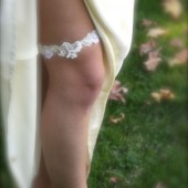 Lace Garter Wedding Garter with Lace, Pearls  and Sequins ivory light cream off white bridal garter
