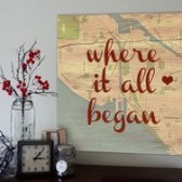 custom canvas map geezees Where it all began quote on vintage style map - canvas wall signage