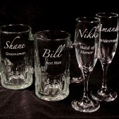 Wedding Party Gifts, champagne flutes, beer mugs
