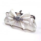 Bella Bow Bridal Clutch in light ivory