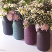 Berry and Blue Painted Mason Jars