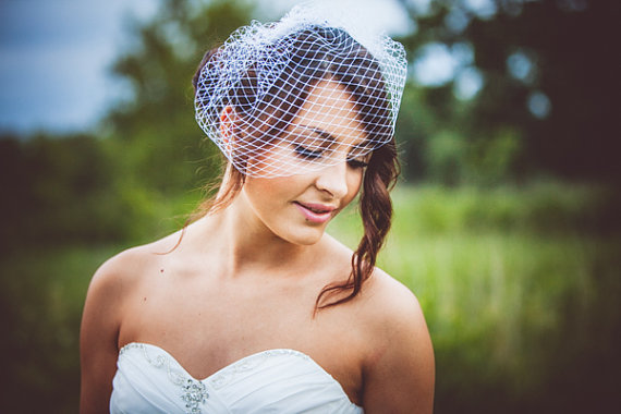 birdcage veil in white