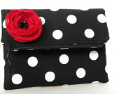 black polka dot clutch