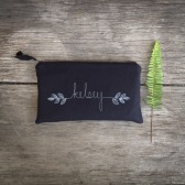 black clutch with fern