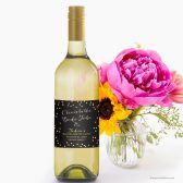 Black Gold & Pink Confetti Bachelorette Party Wine Labels by The Spotted Olive