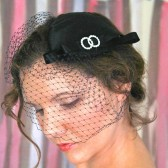 Bridal Cocktail Hat--in Black, White or Ivory