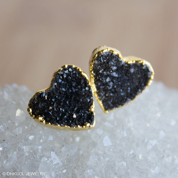 black heart shaped druzy earrings